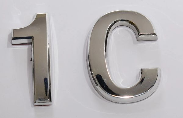 z- APARTMENT, DOOR AND MAILBOX LETTER 1C SIGN - LETTER SIGN 1 C- SILVER (HIGH QUALITY PLASTIC DOOR SIGNS 0.25 THICK)