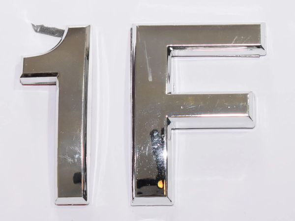 z- APARTMENT, DOOR AND MAILBOX LETTER 1F SIGN - LETTER SIGN 1 F- SILVER (HIGH QUALITY PLASTIC DOOR SIGNS 0.25 THICK)