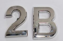 z- APARTMENT, DOOR AND MAILBOX LETTER 2B SIGN - LETTER SIGN 2 B- SILVER (HIGH QUALITY PLASTIC DOOR SIGNS 0.25 THICK)