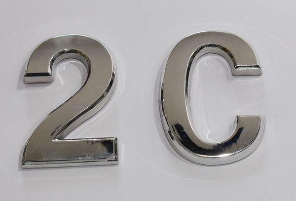 z- APARTMENT, DOOR AND MAILBOX LETTER 2C SIGN - LETTER SIGN 2 C- SILVER (HIGH QUALITY PLASTIC DOOR SIGNS 0.25 THICK)
