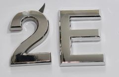z- APARTMENT, DOOR AND MAILBOX LETTER 2E SIGN - LETTER SIGN 2 E- SILVER (HIGH QUALITY PLASTIC DOOR SIGNS 0.25 THICK)