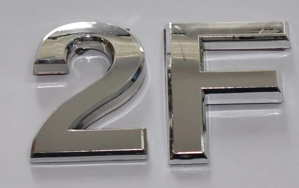 z- APARTMENT, DOOR AND MAILBOX LETTER 2F SIGN - LETTER SIGN 2 F- SILVER (HIGH QUALITY PLASTIC DOOR SIGNS 0.25 THICK)
