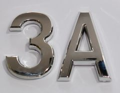 z- APARTMENT, DOOR AND MAILBOX LETTER 3A SIGN - LETTER SIGN 3 A- SILVER (HIGH QUALITY PLASTIC DOOR SIGNS 0.25 THICK)
