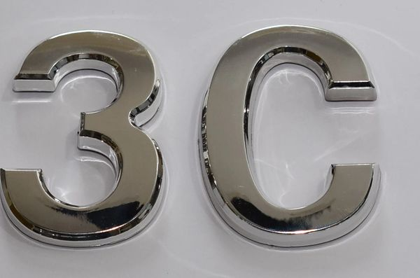 z- APARTMENT, DOOR AND MAILBOX LETTER 3C SIGN - LETTER SIGN 3 C- SILVER (HIGH QUALITY PLASTIC DOOR SIGNS 0.25 THICK)