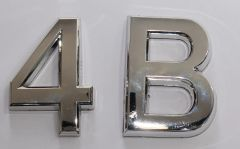 z- APARTMENT, DOOR AND MAILBOX LETTER 4B SIGN - LETTER SIGN 4 B- SILVER (HIGH QUALITY PLASTIC DOOR SIGNS 0.25 THICK)