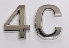 z- APARTMENT, DOOR AND MAILBOX LETTER 4C SIGN - LETTER SIGN 4 C- SILVER (HIGH QUALITY PLASTIC DOOR SIGNS 0.25 THICK)