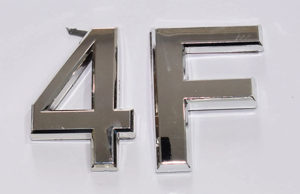 z- APARTMENT, DOOR AND MAILBOX LETTER 4F SIGN - LETTER SIGN 4 F- SILVER (HIGH QUALITY PLASTIC DOOR SIGNS 0.25 THICK)