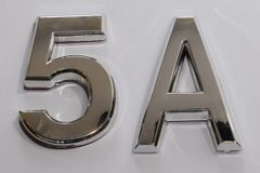z- APARTMENT, DOOR AND MAILBOX LETTER 5A SIGN - LETTER SIGN 5 A- SILVER (HIGH QUALITY PLASTIC DOOR SIGNS 0.25 THICK)