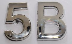 z- APARTMENT, DOOR AND MAILBOX LETTER 5B SIGN - LETTER SIGN 5 B- SILVER (HIGH QUALITY PLASTIC DOOR SIGNS 0.25 THICK)