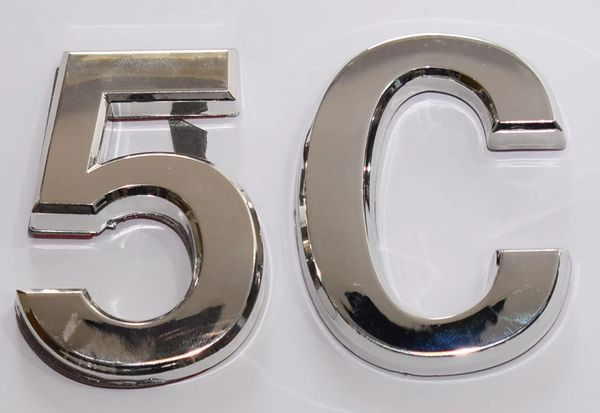 z- APARTMENT, DOOR AND MAILBOX LETTER 5C SIGN - LETTER SIGN 5 C- SILVER (HIGH QUALITY PLASTIC DOOR SIGNS 0.25 THICK)