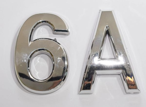 z- APARTMENT, DOOR AND MAILBOX LETTER 6A SIGN - LETTER SIGN 6 A- SILVER (HIGH QUALITY PLASTIC DOOR SIGNS 0.25 THICK)