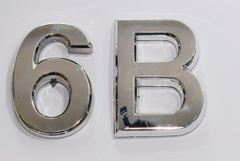 Z- APARTMENT, DOOR AND MAILBOX LETTER 6B SIGN - LETTER SIGN 6 B- SILVER (HIGH QUALITY PLASTIC DOOR SIGNS 0.25 THICK)