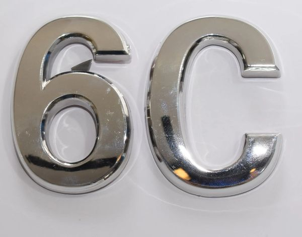 z- APARTMENT, DOOR AND MAILBOX LETTER 6C SIGN - LETTER SIGN 6 C- SILVER (HIGH QUALITY PLASTIC DOOR SIGNS 0.25 THICK)