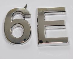 z- APARTMENT, DOOR AND MAILBOX LETTER 6E SIGN - LETTER SIGN 6 E- SILVER (HIGH QUALITY PLASTIC DOOR SIGNS 0.25 THICK)