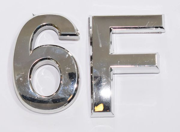 z- APARTMENT, DOOR AND MAILBOX LETTER 6F SIGN - LETTER SIGN 6 F- SILVER (HIGH QUALITY PLASTIC DOOR SIGNS 0.25 THICK)
