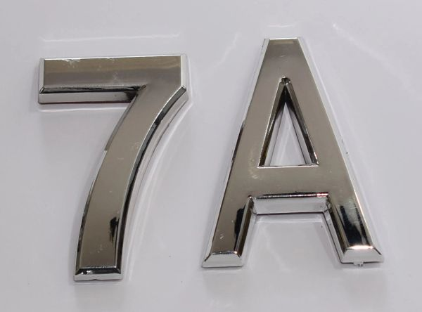 z- APARTMENT, DOOR AND MAILBOX LETTER 7A SIGN - LETTER SIGN 7 A- SILVER (HIGH QUALITY PLASTIC DOOR SIGNS 0.25 THICK)