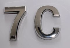 z- APARTMENT, DOOR AND MAILBOX LETTER 7C SIGN - LETTER SIGN 7 C- SILVER (HIGH QUALITY PLASTIC DOOR SIGNS 0.25 THICK)