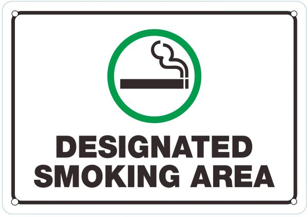 DESIGNATED SMOKING AREA SIGN (ALUMINUM SIGNS 7X10)