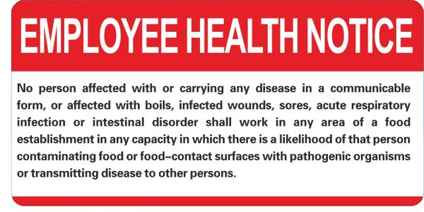 FOOD ESTABLISHMENT EMPLOYEE HEALTH NOTICE (ALUMINUM SIGNS 6X12)