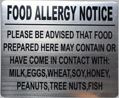 FOOD ALLERGY NOTICE SIGN- BRUSHED ALUMINUM (ALUMINUM SIGNS 10X12)