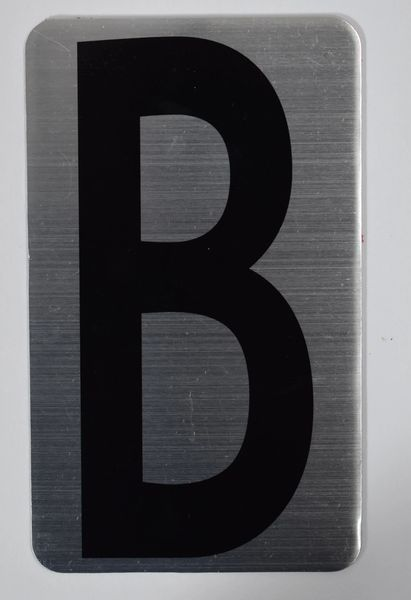 Apartment number sign B (SILVER, ALUMINUM SIGNS 5X3)- The Hippo Line