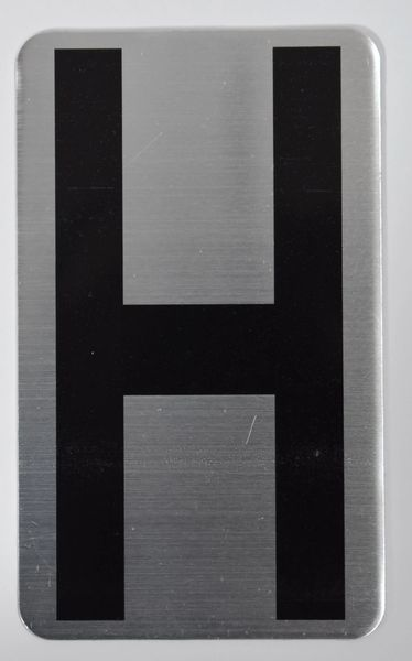 Apartment number sign H – (SILVER, ALUMINUM SIGNS 5X3)- The Hippo Line