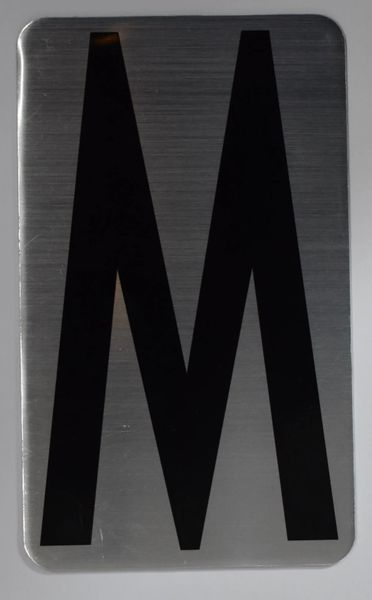 Apartment number sign M– (SILVER, ALUMINUM SIGNS 5X3)- The Hippo Line