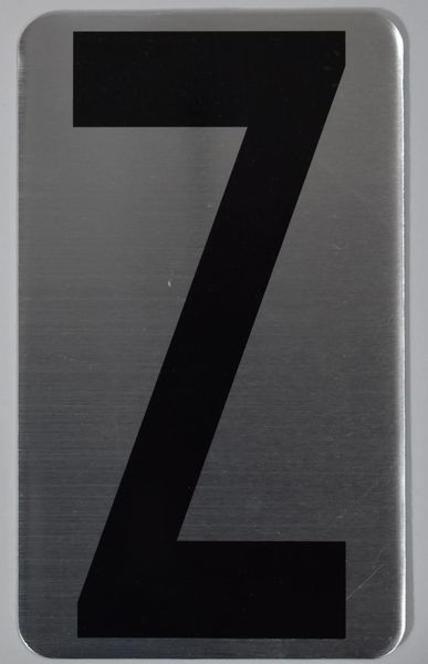 Apartment number sign Z – (SILVER, ALUMINUM SIGNS 5X3)- The Hippo Line