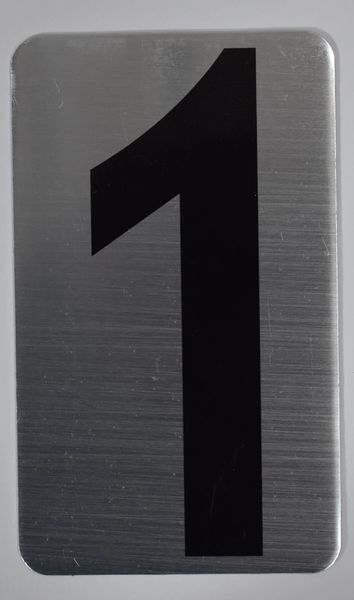 Apartment number sign 1 – (SILVER, ALUMINUM SIGNS 5X3)- The Hippo Line