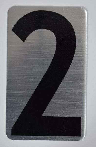 Apartment number sign 2 – (SILVER, ALUMINUM SIGNS 5X3)- The Hippo Line
