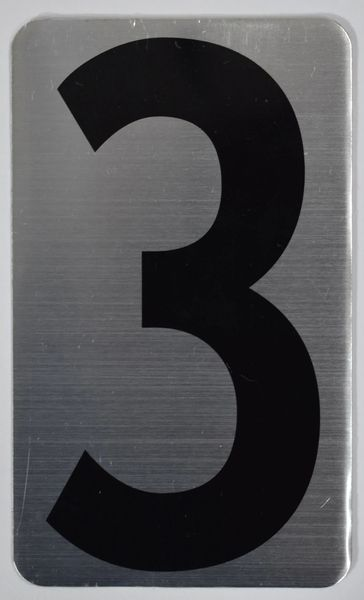 Apartment number sign 3 – (SILVER, ALUMINUM SIGNS 5X3)- The Hippo Line