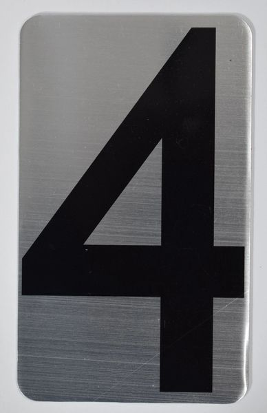 Apartment number sign 4 – (SILVER, ALUMINUM SIGNS 5X3)- The Hippo Line