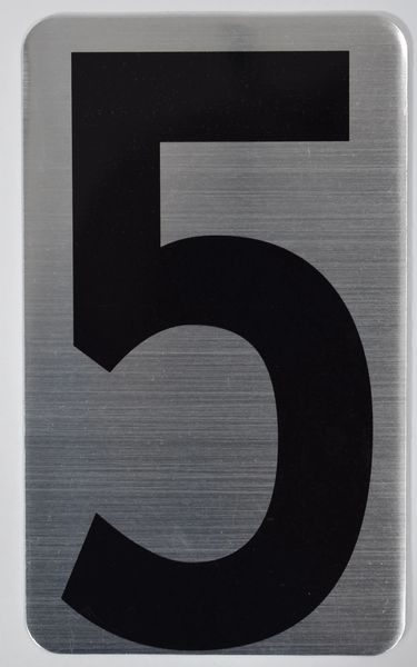 Apartment number sign 5 – (SILVER, ALUMINUM SIGNS 5X3)- The Hippo Line