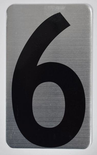 Apartment number sign 6 – (SILVER, ALUMINUM SIGNS 5X3)- The Hippo Line