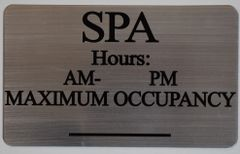 SPA MAXIMUM OCCUPANCY SIGN – BRUSHED ALUMINUM (ALUMINUM SIGNS 6X10)