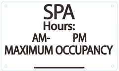 SPA MAXIMUM OCCUPANCY SIGN – WHITE (ALUMINUM SIGNS 6X10)