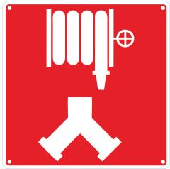 AUTOMATIC SPRINKLER AND STANDPIPE CONNECTION SIGN- RED BACKGROUND (ALUMINUM SIGNS 10X10)
