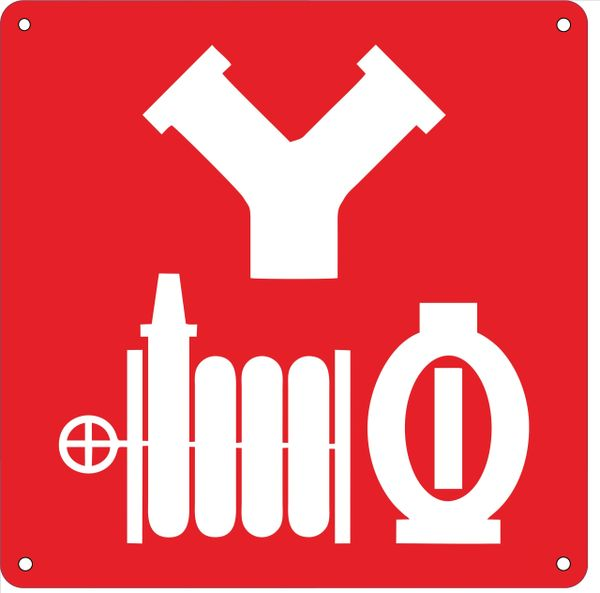 STANDPIPE CONNECTION SYMBOL SIGN- RED BACKGROUND (ALUMINUM SIGNS 10X10)