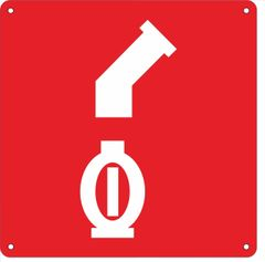 AUTOMATIC SPRINKLER SYMBOL CONNECTION SIGN- RED BACKGROUND (ALUMINUM SIGNS 10X10)