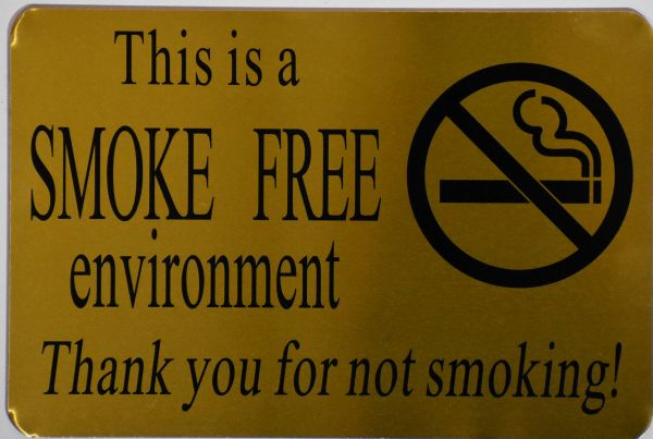 SMOKE FREE ENVIRONMENT THANK YOU FOR NOT SMOKING SIGN- GOLD ALUMINUM BACKGROUND (ALUMINUM SIGNS 6X9)