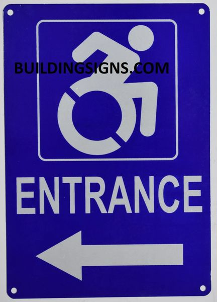 ENTRANCE LEFT SIGN- BLUE BACKGROUND (ALUMINUM SIGNS 10X7)- The Pour Tous Blue LINE
