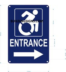 ENTRANCE RIGHT SIGN- BLUE BACKGROUND (ALUMINUM SIGNS 10X7)- The Pour Tous Blue LINE