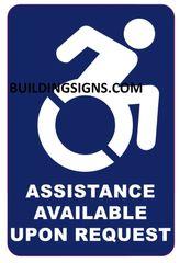 ASSISTANCE AVAILABLE UPON REQUEST SIGN- BLUE BACKGROUND (ALUMINUM SIGNS 6X4)- The Pour Tous Blue LINE
