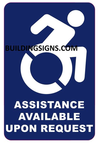 ASSISTANCE AVAILABLE UPON REQUEST SIGN- BLUE BACKGROUND (ALUMINUM SIGNS 6X4)- The Pour Tous Blue LINE