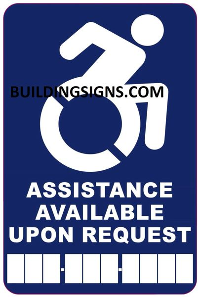 ASSISTANCE AVAILABLE UPON REQUEST PHONE SIGN- BLUE BACKGROUND (ALUMINUM SIGNS 6X4)- The Pour Tous Blue LINE