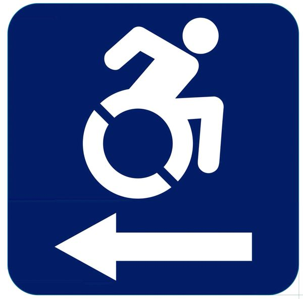 ACCESSIBLE LEFT SIGN- BLUE BACKGROUND (ALUMINUM SIGNS 6X6)- The Pour Tous Blue LINE