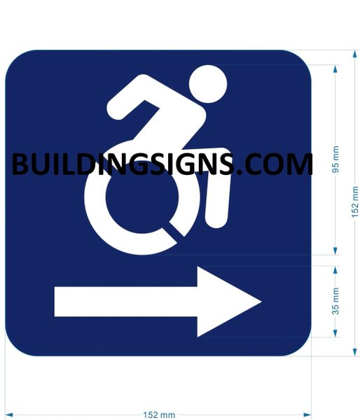 ACCESSIBLE RIGHT SIGN- BLUE BACKGROUND (ALUMINUM SIGNS 6X6)- The Pour Tous Blue LINE