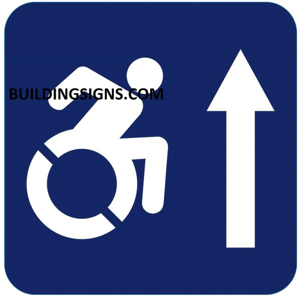 ACCESSIBLE AT THE FRONT SIGN- BLUE BACKGROUND (ALUMINUM SIGNS 6X6)- The Pour Tous Blue LINE