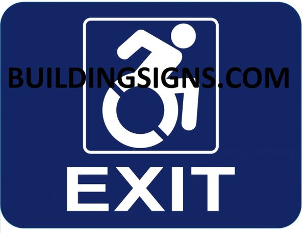 EXIT Sign- BLUE BACKGROUND (ALUMINUM SIGNS 6X8)- The Pour Tous Blue LINE