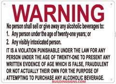 DO NOT HELP MINORS BUY ALCOHOL SIGN (ALUMINUM SIGNS 10X12)